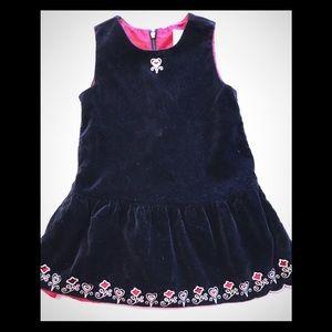 Hanna Andersson Black Velvet Flower Cut Out Dress